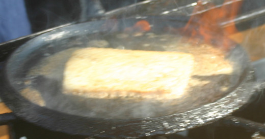 When the saganaki is brown on both sides, it's ready to serve