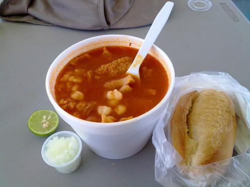 Menudo dish for breakfast in El Paso.