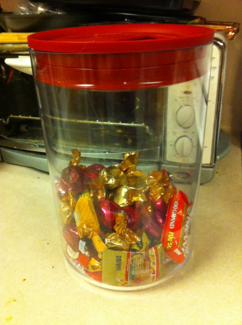 Keeping the chocolate safe from prying dogs
