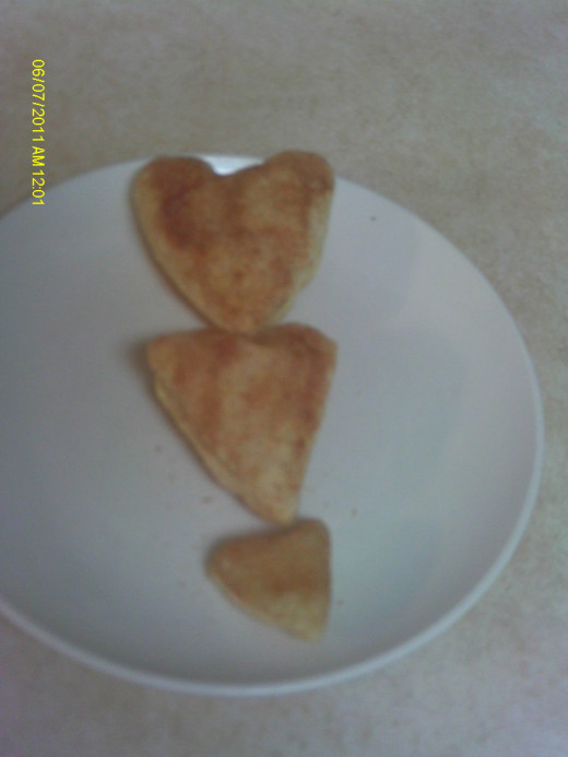 Puff pastry cut into 3 different sized hearts.
