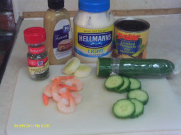 Ingredients for Cucumber shrimp appetizer