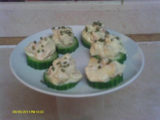 Cucumber with shrimp salad.