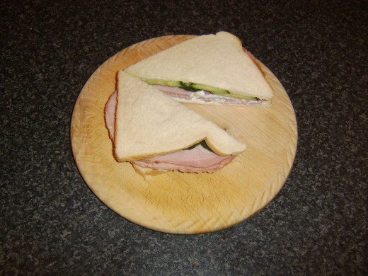 Sandwich is halved diagonally to serve