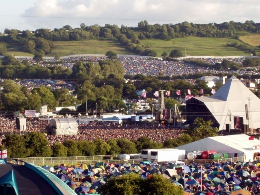 The site of the Glastonbury Festival.  The event takes place annually on the land of local farmer, Michael Eavis in southwest England. The event regularly attracts over 80,000 festival goers and much media attention.
