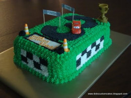 One of my earlier, simpler cakes.  (car, cones, trophy, and flag are not edible)