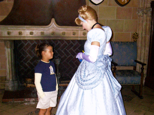 My daughter meeting Cinderella before going to eat lunch in her castle.