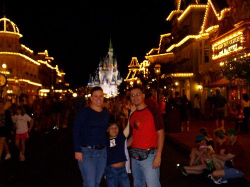 Magic Kingdom at night the 3 of us!