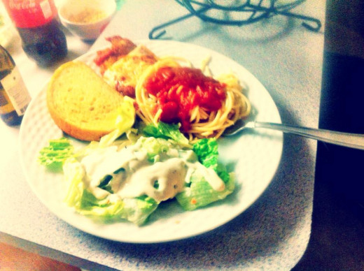 """Chicken Parmesan prepared by my sister in law. A little heavy on the """"Psalms"""", but there are days..."""