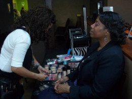 Make-up Artist/ Sister-Friend Gretchen Virgil preparing to hook me up on May 19, 2012.