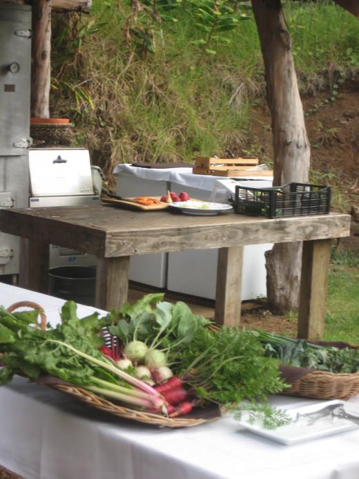 Produce harvested at O'o Farm in Maui