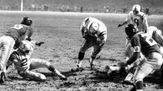 "Alan Ameche scores the winning TD in overtime in the ""The Greatest Game Ever Played"", the 1958 NFL Championship Game game vs. the New York Giants at Yankee Stadium"