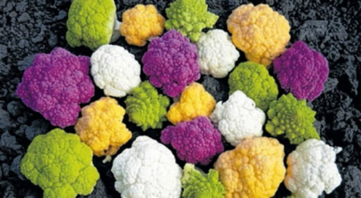 Cauliflower come in various colours though not common
