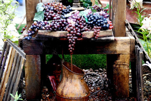 Wine flowing from the winepress