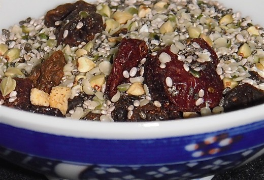 Once in the bowl, this healthy breakfast cereal is soaked in hot water for five minutes to soften the seeds.