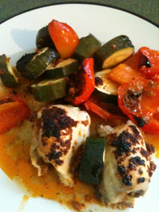 Roasted chicken thighs with summer vegetables. Photo © Redberry Sky