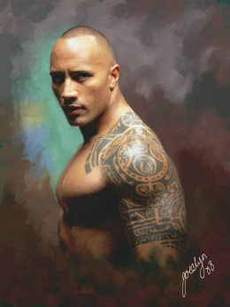 The Rock always looks amazing in these urban tribal tattoos