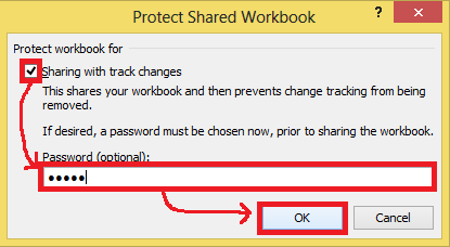 Activating sharing and protection of the workbook