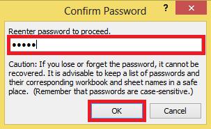 Confirming Password