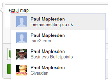 Using the + key to mention someone else and selecting from the pop up list on Google Plus