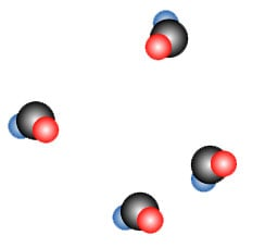 The atoms in a gas move around freely