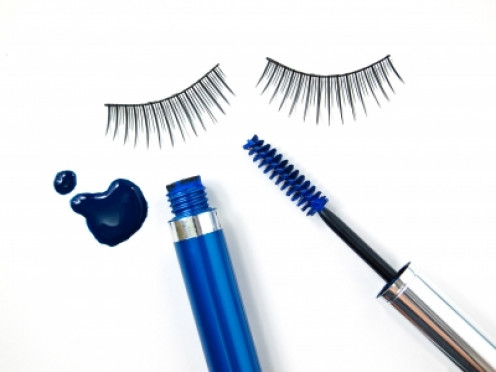 pump up the volume in eyelashes with a set of long false eyelashes and a colored mascara for a vamped up look this spring and summer.