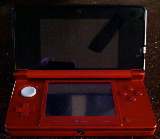 A handheld gaming device.