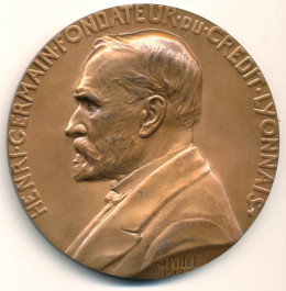 Henri Germain, founder of Crédit Lyonnais, bronze medallion, 81mm, by Charles Pillet, 1910