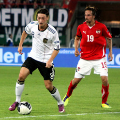 Mesut Ozil playing for Germany against Austria