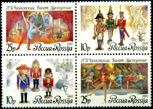 Russian stamps with images of The Nutcracker Ballet
