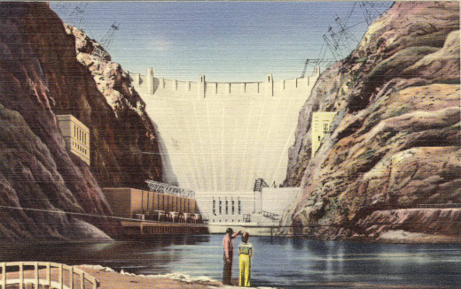 Couple gazes at Hoover Dam circa 1940