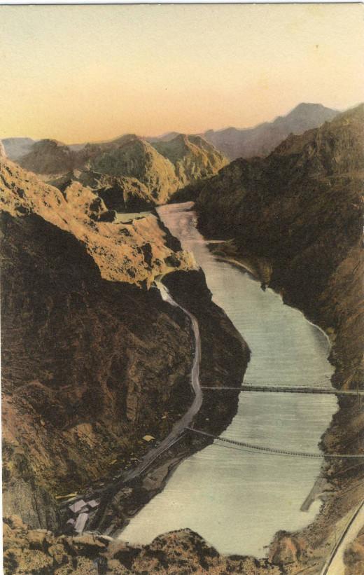 Black Canyon and Colorado River, Site of future Dam circa 1921
