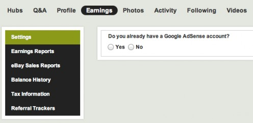 "Select ""yes"" after clicking the ""get started"" button next to Google AdSense"