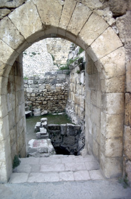 A stone arch at the ruins of the Pool of Bethesda in Jerusalem, where Jesus healed a lame man.