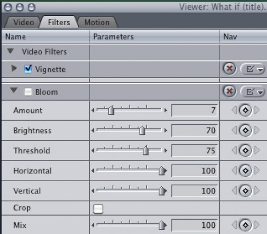 to hide your effects, uncheck the box next to each filter.