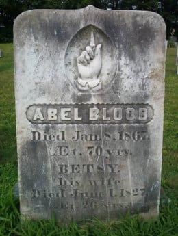 Abel Blood's Tombstone pointing towards the heavens. People say at night when the spirits come out, the finger points down.