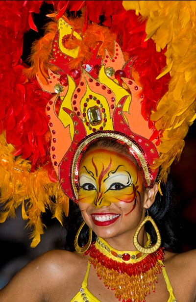 Costumed woman at the Carnaval