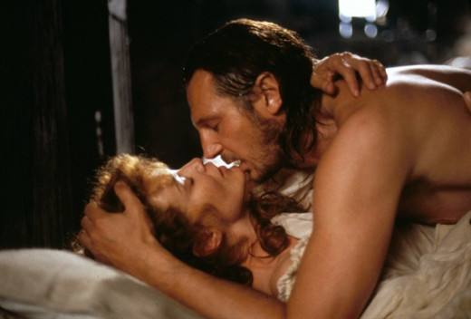 "Love scene from the epic hero film ""Rob Roy"" starring Liam Neeson and Jessica Lange"