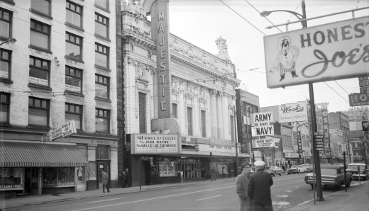 "Pantages Theatre, 1964. ""Majestic Theatre"" at the time."