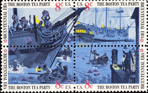 4-1973 Postal Stamps depicting the Boston Tea Party.
