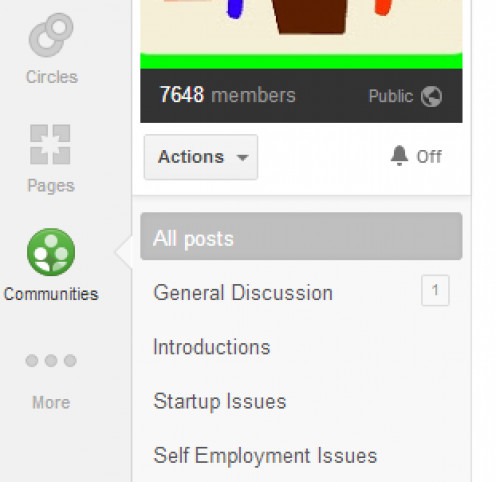 Subtopics on the left hand side of a Google+ Community