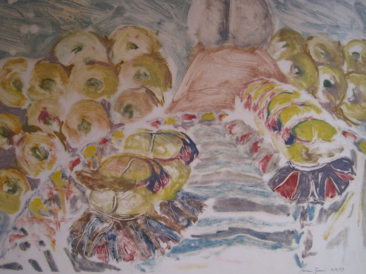Dancing Bagel's 3 - Mono Print