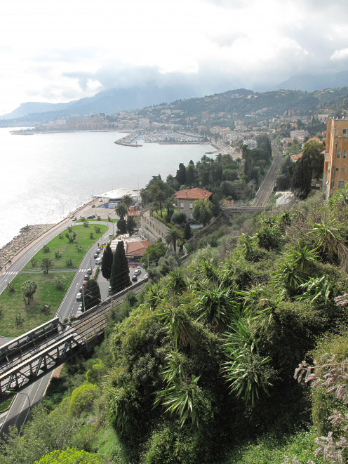 Menton (France) from the upper customs house on the road to Grimaldi, Italy