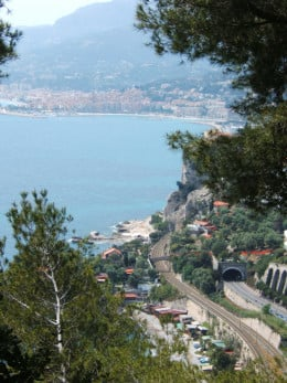 France viewed from Grimaldi, Italy. In the background may be seen the city of Menton and its Old Port (to the left of the photo).