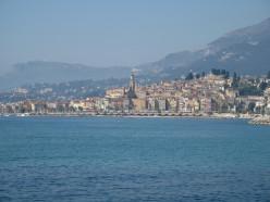 Menton, Alpes-Maritimes (France) seen from the Italian border.