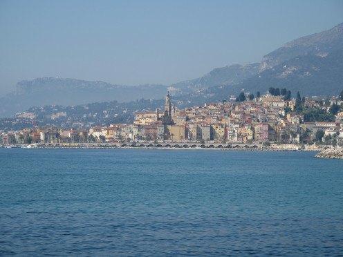 Menton, Alpes-Maritimes (France) seen from the Italian border.