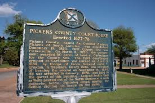 The Pickens County courthouse is located in Carrollton, Alabama and is the supposed location of the ghost of Henry Wells.