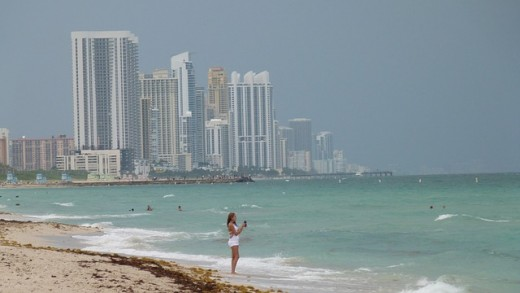 "Miami pictured from the beach.  The city is a major destination for tourists, both international and domestic.  Its Spanish-speaking majority and the large number of Cuban-Americans who live there have led to the nickname: ""Capital of Latin America""."