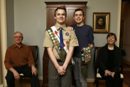 Pascal Tessier, 16, with his older brother and Eagle Scout Lucien Tessier, 20.  February 2013.