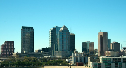 The city skyline.  Tampa was an isolated village occupied by pioneers for a long time, until the arrival of the railroad and a thriving cigar industry opened it up.  Later phosphate was discovered and it quickly expanded into a big city.