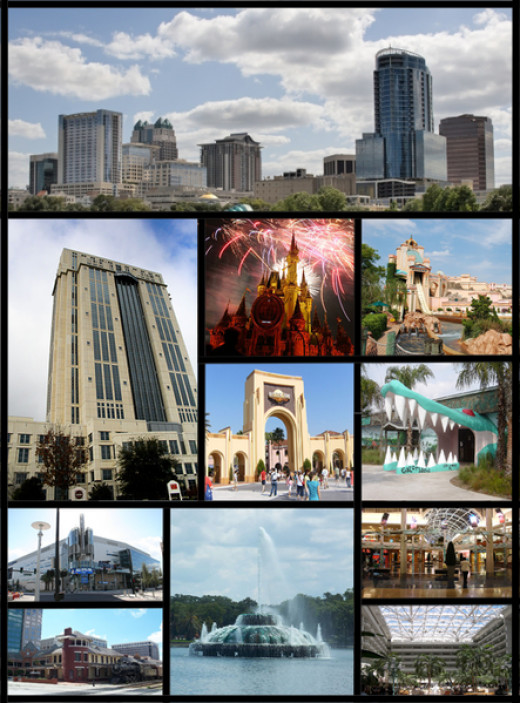 Some of the sights of Orlando, including Downtown Orlando, Orange County Courthouse, Universal Studios Florida, Walt Disney World, Gatorland, SeaWorld Orlando, Amway Center, Lake Eola fountain, The Mall at Millenia, Church Street Street.